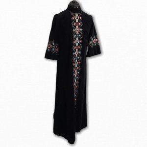 Vintage Kamore Black Velvet Embroidered Dress